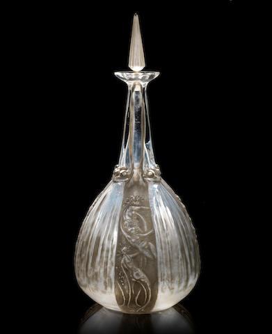 René Lalique 'Sirènes et Grenouilles' a Carafe and Stopper, design 1911