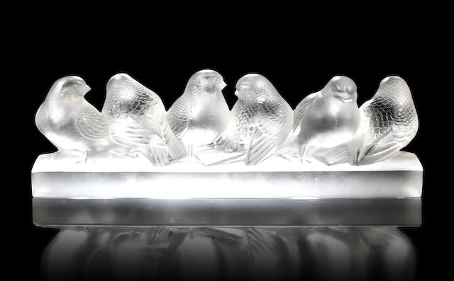 René Lalique  'Groupe de Six Moineaux' an Illuminated Sculpture, design 1933