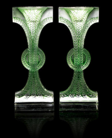 René Lalique 'Rameaux' a Pair of Candlesticks, design 1934