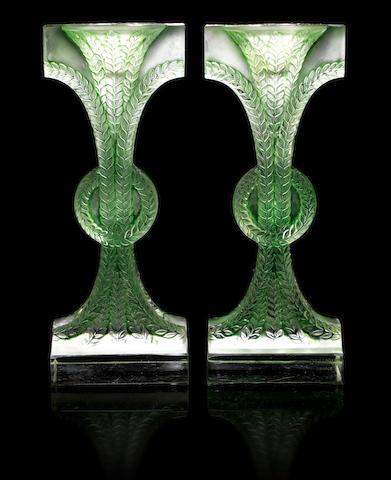 René Lalique 'Rameaux' a Pair of Candlesticks, design 1934