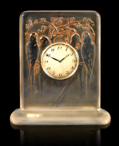 René Lalique 'Quatre Perruches' a Clock, design 1920