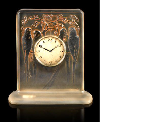 René Lalique 'Quatre Perruches' a Clock, design 1920