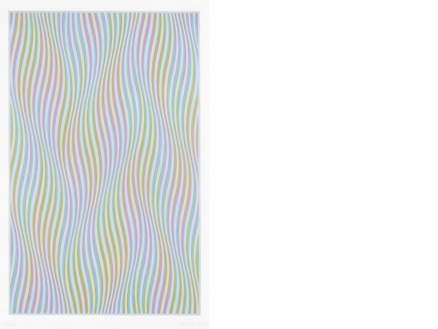 Bridget Riley (British, born 1931) Elapse Screenprint in colours, 1982, on wove, signed and numbered from the edition of 260, printed by Graham Henderson, London,   1021 x 639mm (40 1/8 x 25 1/8in)(I)