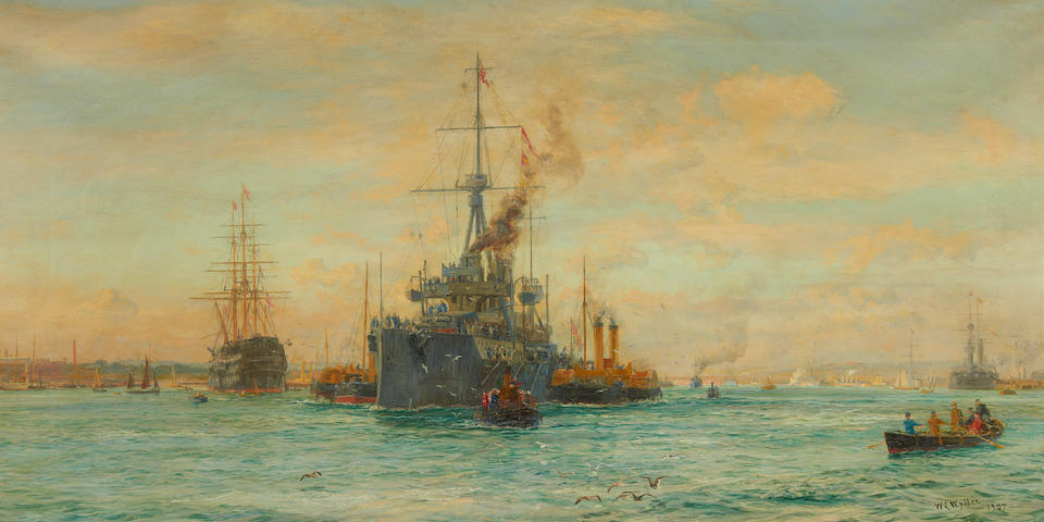 William Lionel Wyllie (British, 1851-1931) Dreadnought and Victory, the future and the past, at their moorings in Portsmouth