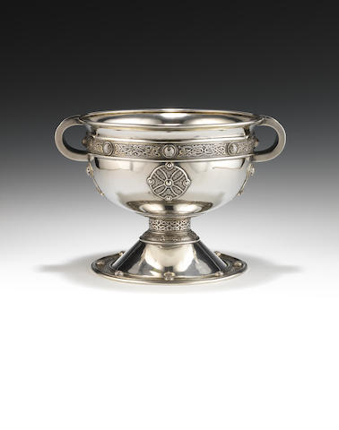 A silver and silver-gilt replica of the Ardagh chalice by Goldsmiths & Silversmiths Co Ltd,  London 1900  (1)
