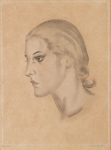 Léonard Tsuguharu Foujita (Japanese/French, 1886-1968) Profile of a Young Woman Soft-ground etching, 1928, on wove, signed and numbered 33/100 in pencil, with margins, 320 x 240mm (12 5/8  x 9 1/2in)(PL)