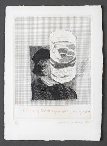 David Hockney R.A. (British, born 1937) Postcard of Richard Wagner with a Glass of Water Etching, 1973, on wove?, signed, dated and numbered 13/100 in pencil, printed by Michael Rand, London, published by Bernard Jacobson, London, with full margins, 210 x 152mm (8 1/4 x 6in)(SH)