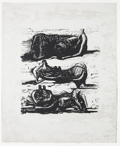 Henry Moore O.M., C.H. (British, 1898-1986) Three Reclining Figures, from La Poésie Lithograph, 1973, on Arches, signed with initials in pencil, from the edition of 110, printed by Curwen Studio, London, published by Art et Poésie, Paris, 472 x 385mm (18 5/8 x 15 1/8in)(SH)