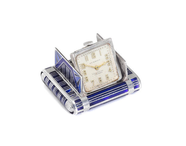 TAVANNES for DUNHILL: An Art Deco silver and enamelled cased concealed purse watch circa 1929