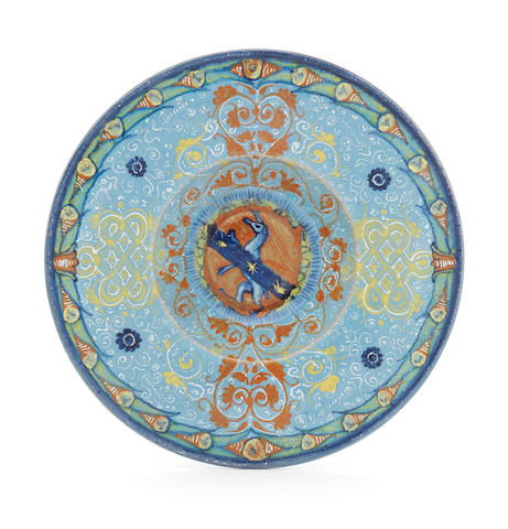 A Faenza maiolica dish with the arms of the Milzetti family Circa 1525-35