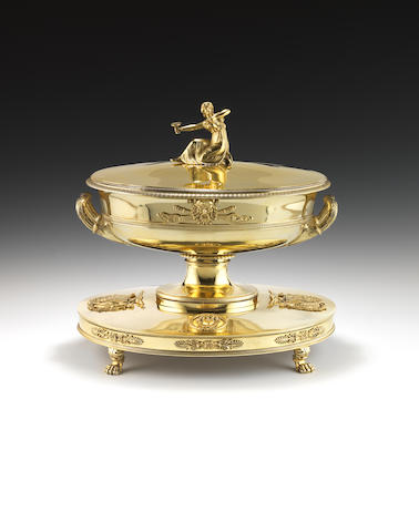 An important French silver-gilt two-handled soup tureen and cover on stand, from the Borghese suite by Jean-Baptiste-Claude Odiot, Paris 1798-1809
