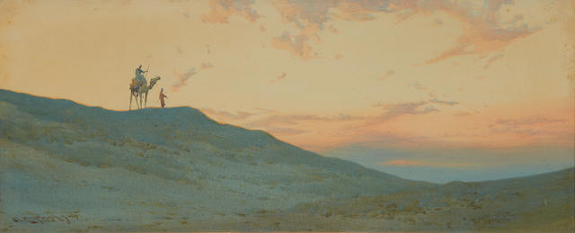 Augustus Osborne Lamplough, A.R.A., R.W.S (British, 1877-1930) 'A Desert Skyline; 'A Desert Village', a pair (2)