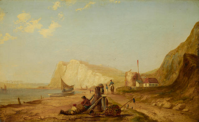 James Baker Pyne (British, 1800-1870) View of a fishing village