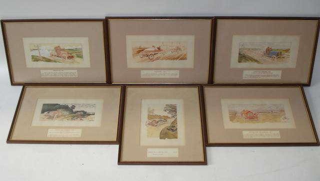 Six framed lithographic motoring prints after Ernest Montaut,