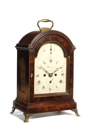 A good late 18th century mahogany table clock James Wilson, Westminster