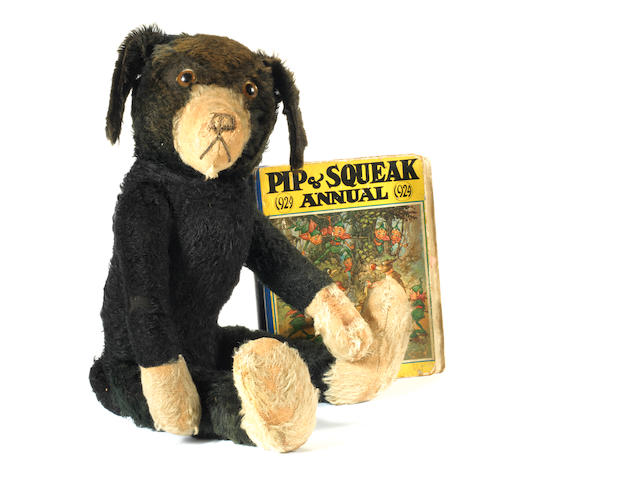 Black and white mohair 'Pip' toy dog, 1930's  3