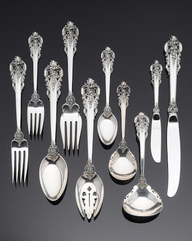 An American silver table service of flatware by Wallace, also impressed STERLING  (53)