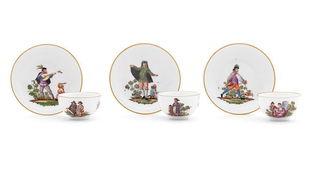 Five Meissen teabowls and six saucers, circa 1740-45