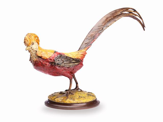 An Austrian Bergmann style cold painted bronze pheasant