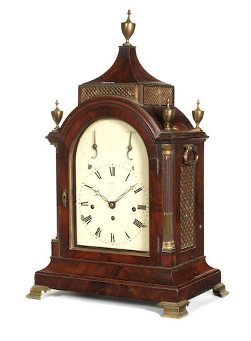 An early 19th century quarter chiming mahogany table clock Sarjent, Jermyn St, London,