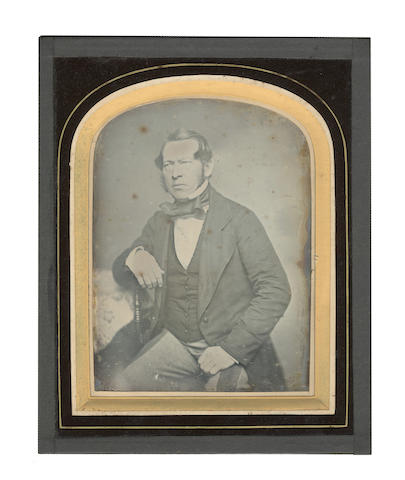 "DAGUERREOTYPES Two whole plate, large format portraits of a male and female sitter, the female sitter heightened with gold, [c.1850]; together with 4 half plate, mid format portraits, three of which are cased, one showing ""Henry Calley in Canada circa 1850"" (6)"