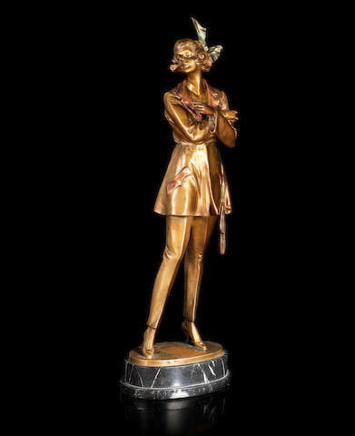 Bruno Zach 'Girl with a Cigarette' a Large Cold-painted Bronze Study, circa 1925