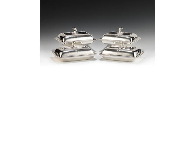 A set of four George III silver entrée dishes and covers by Thomas Robinson (I), London 1805