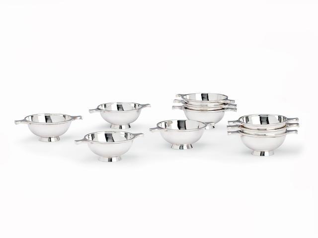 A set of ten small silver quaichs by Hamilton & Inches, Edinburgh 1978  (10)