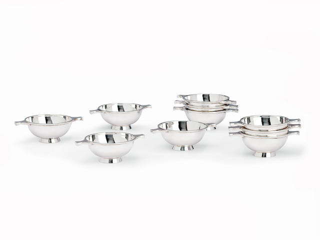 A set of ten small silver quaichs by Hamilton & Inches, Edinburgh 1978  (10)