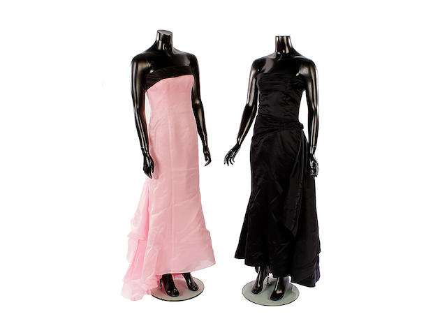 A Ralph Lauren evening dress and a Valentino evening dress