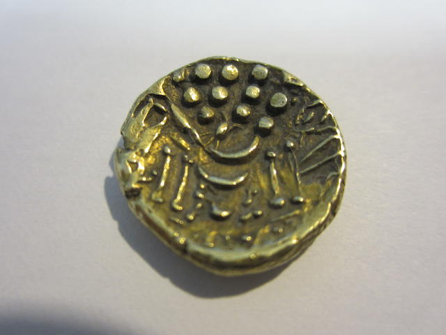 Celtic, Chute type (circa 55 BC) Gold stater. Weighs 6.2g, abstract head of Apollo right,