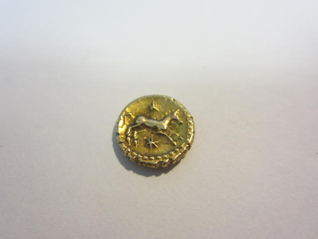 Celtic, Eppillus (early 1st century AD), Gold quarter stater. Weighs 1.2 grams, COMM F EPPILU around crescent,