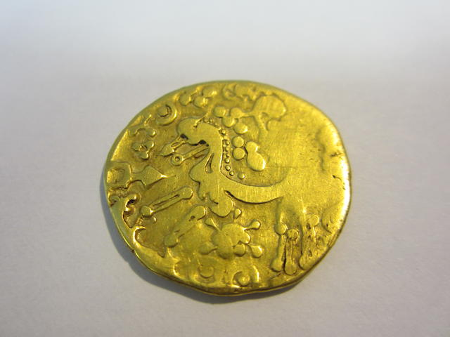 Celtic, Gallo-Belgic A (circa 100 BC), Ambiani gold stater. Weighs 7.4 grams, large flan,  celticized head of Apollo left,