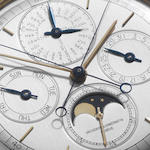Vacheron Constantin. An 18ct gold triple complications open face pocket watch