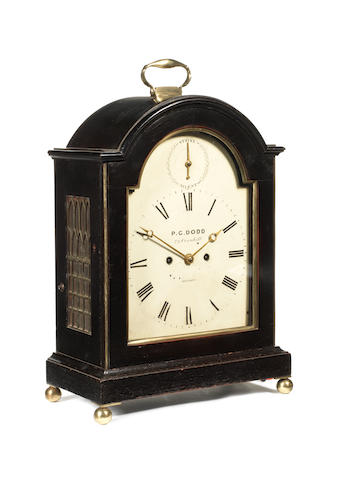 An early 19th century ebonised and brass mounted bracket clockby P.G. Dodd, 79 Cornhill, London