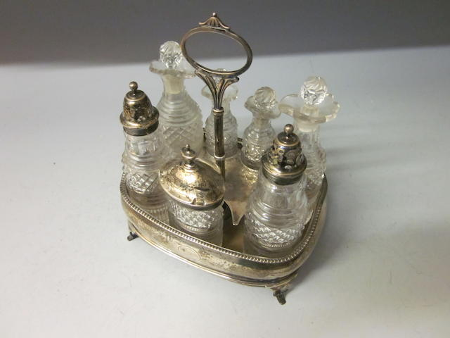 A George III silver cruet,  makers mark rubbed London 1812,