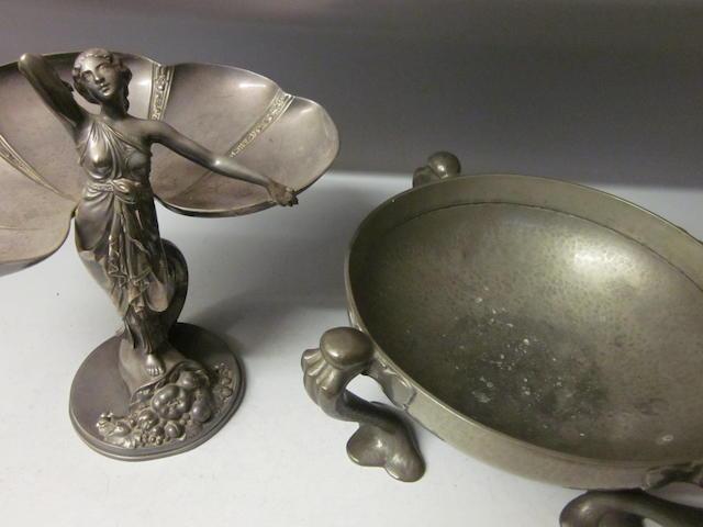 An Art Nouveau electroplated pedestal dish,   (2)