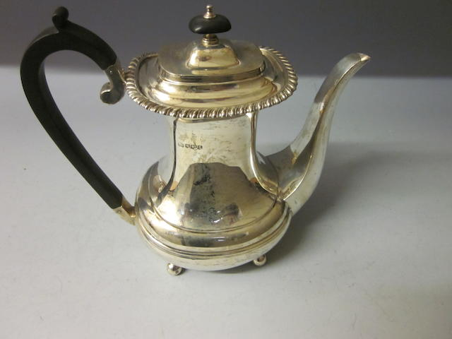 An Edward VIII silver coffee pot, by William Hutton and Sons Ltd,  Sheffield 1936,