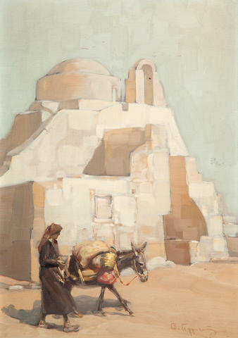 Vassilis Germenis (Greek, 1896-1966) The church of Paraportiani in Mykonos 50 x 35 cm.