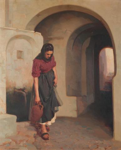 Apostolos Geralis (Greek, 1886-1983) Carrying water 65 x 54 cm.