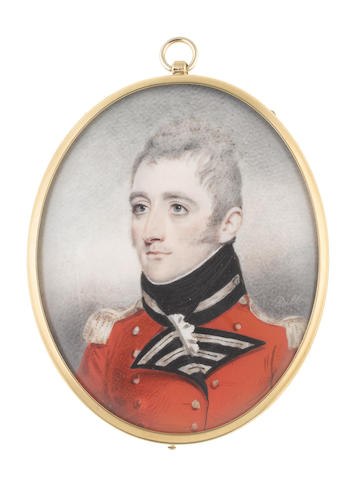 Charles G. Dillon (British, active circa 1810-circa 1830) General Henry James Riddell, KH (d.1861) of the 66th Foot, wearing red coat with black facings, silver button holes and epaulettes, white frilled chemise and black stock