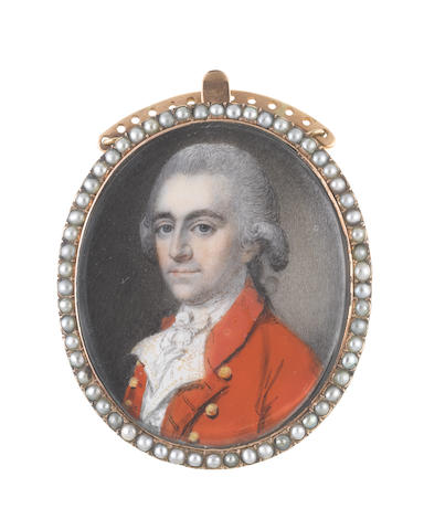 English School, circa 1770 A Gentleman, wearing scarlet coat, white waistcoat with gold embroidery, white stock and tied cravat, his powdered wig worn en queue and tied with a black ribbon bow