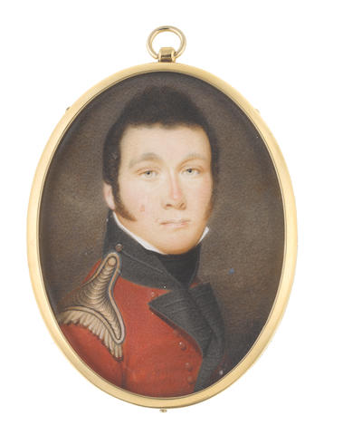 John Hazlitt (British, 1767-1837) An Officer, wearing red coat with black standing collar and facings, gold epaulette, white chemise and black stock