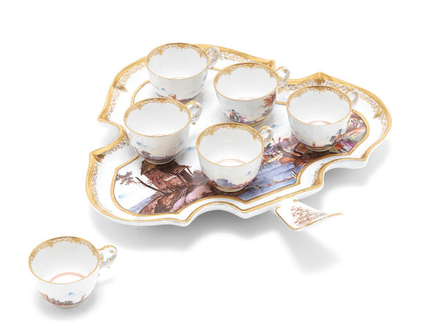A Meissen tray with six cups, fine landscape