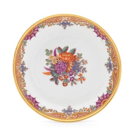 A Meissen saucer, floral sprigs, signed Bayr