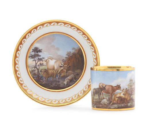 A Berlin coffee can and saucer, circa 1803-13