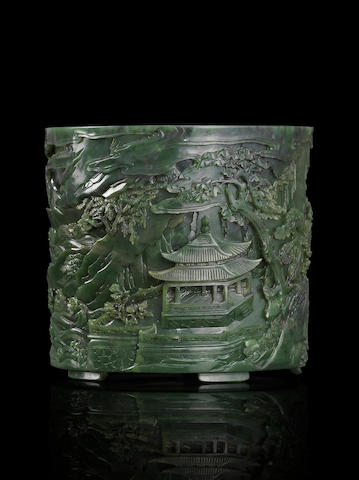 An inscribed Imperial spinach jade brushpot Qianlong, Imperially incised inscription and seal mark dated to summer of 1795