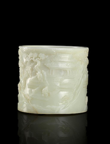 An inscribed white jade brushpot Qing dynasty