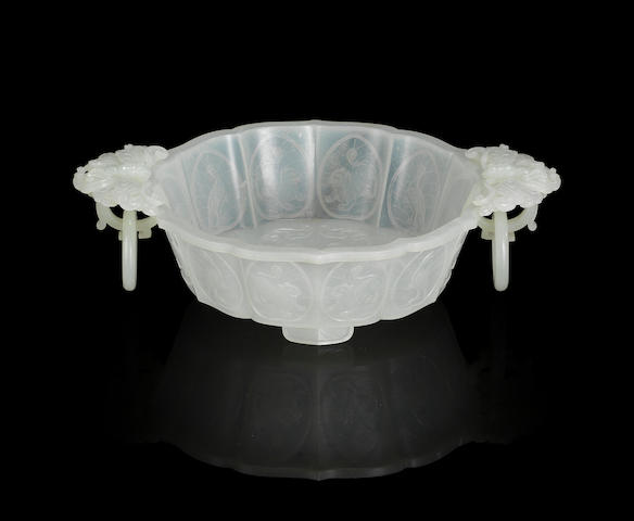 A Mughal-style white jade 'butterfly' bowl Late Qing dynasty
