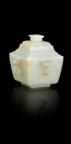 A white jade square bowl and cover Qianlong